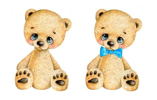 Watercolor illustration of a cute cartoon teddy bear with a blue bow tie on a white background