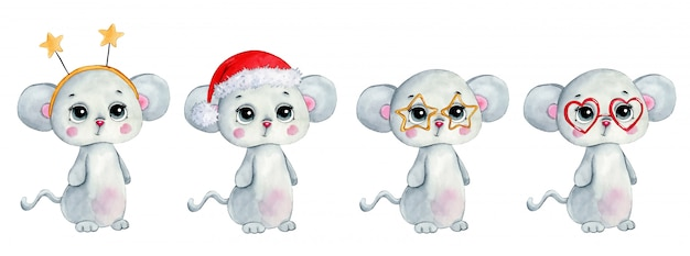 Watercolor illustration of a cute cartoon winter christmas mouse set  .