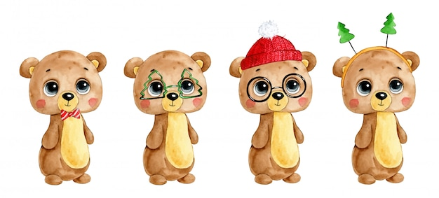 Watercolor illustration of a cute cartoon winter christmas teddy bear set  .