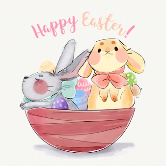Watercolor illustration of cute easter bunnies