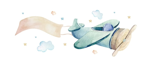 Watercolor illustration of a cute and fancy sky scene with airplane clouds ribbon
