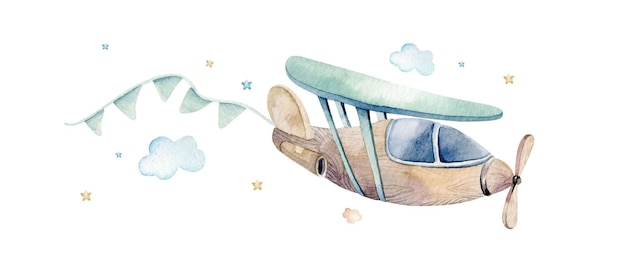 Watercolor illustration of a cute and fancy sky scene with airplane, clouds, ribbons.