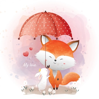 Watercolor illustration of cute foxes with a rabbit. friends are open an umbrella.