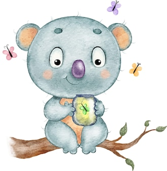 Watercolor illustration of a cute funny funny koala sitting on a branch with butterflies
