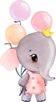 Watercolor illustration of a cute pink elephant in a dress with colorful balloons for the holiday