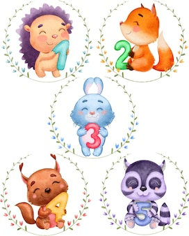 Watercolor illustration of a cute set of animals in floral wreath