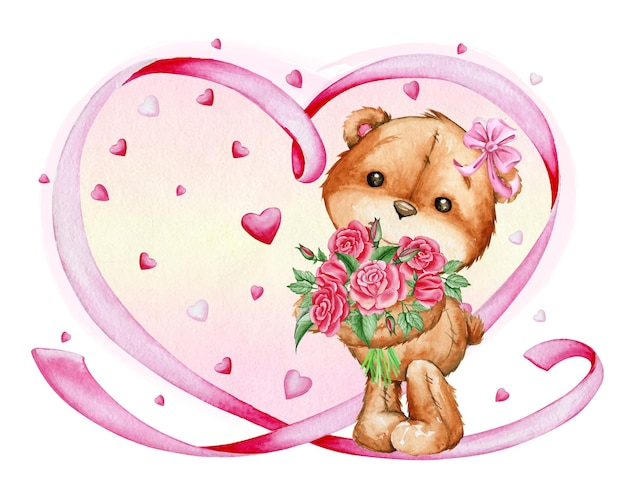 Watercolor illustration. cute teddy bear, pink bow on his head, holding a bouquet of red roses.