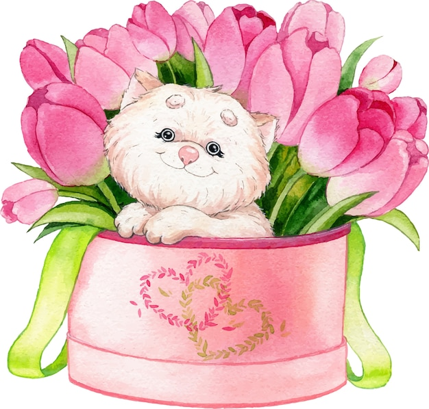 Watercolor illustration of a cute white fluffy cat in a box with flowers