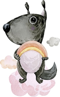 Watercolor illustration drawing cute squirrel with big eyes and rainbow