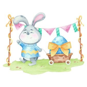 Watercolor illustration at easter with cute rabbit and egg with banter