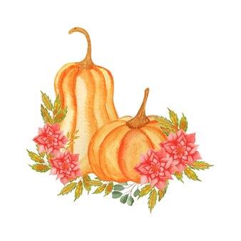 花柄の水彩イラスト秋のカボチャ