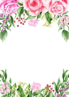 Watercolor illustration floral frame / border