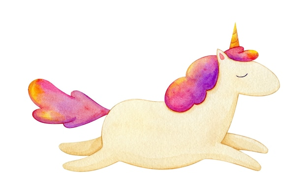 Watercolor illustration of flying unicorn