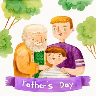 Акварельные иллюстрации на день отца