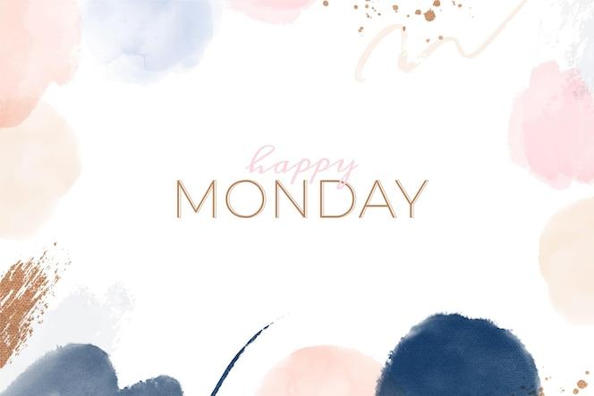 수채화 그림 행복한 월요일