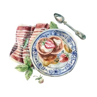 スケッチスタイルの水彩イラスト-パンケーキ、蜂蜜、イチゴのプレート。手描きイラストを提供するスタイリッシュなビンテージ朝食。水彩メニュー、ポストカード、お土産