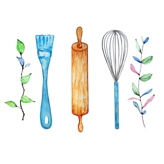 Watercolor illustration of a kitchen brush, rolling pin and whisk