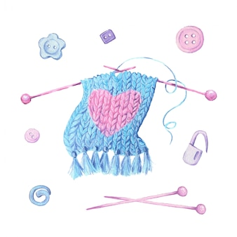 Watercolor illustration of a knitted scarf with a heart on knitting needles and accessories for needlework. vector