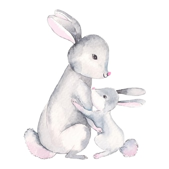 Watercolor illustration of little bunny with mom cartoon style character isolated on white