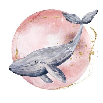 Акварельная иллюстрация. волшебная лунная абстрактная композиция. луна и кит с золотыми вкраплениями. композиция, изолированные на белом фоне.