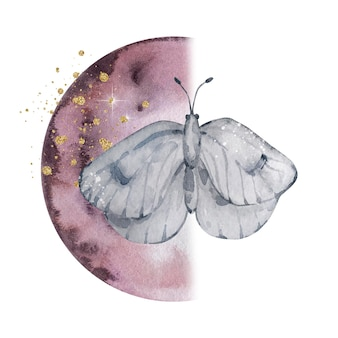 Watercolor illustration. magic lunar abstract composition. moon and gray butterfly with golden splashes. composition isolated on white background.