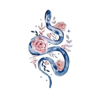 Акварельная иллюстрация. волшебная небесная абстрактная композиция. змея с цветами и звездами. композиция, изолированные на белом фоне.