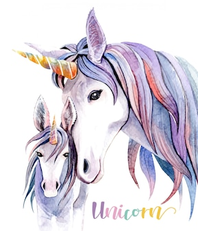 Watercolor illustration mom unicorn and baby.