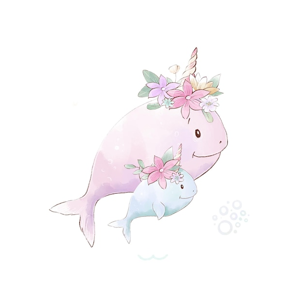 Watercolor illustration of narwhals mom and baby with delicate flowers
