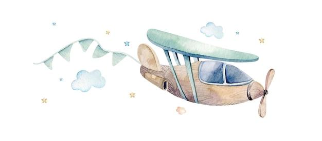 Акварельные иллюстрации милой и причудливой сцены неба с самолетом, облаками, лентами.
