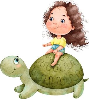 큰 녹색 거북을 타고 곱슬 머리를 가진 귀여운 아름다운 소녀의 수채화 그림