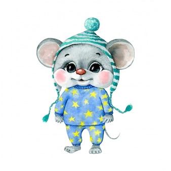 Акварельные иллюстрации милый мультфильм мышь мальчик в синей пижаме с желтыми звездами и шляпой