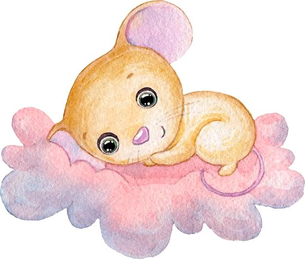 ピンクの雲の上で眠っているかわいい小さなマウスの水彩イラスト