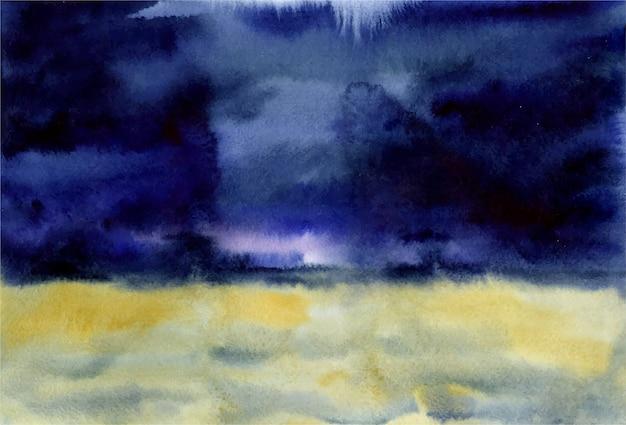 紺色の空と雷雨の前に風光明媚な美しい背景の麦畑の水彩イラスト