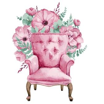Акварельные иллюстрации кресла