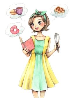クッキングガイドを開く美しい少女の水彩イラスト