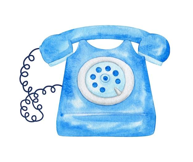 Акварельная иллюстрация синего старого телефона