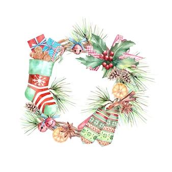 Акварель иллюстрация рождественский праздник венок