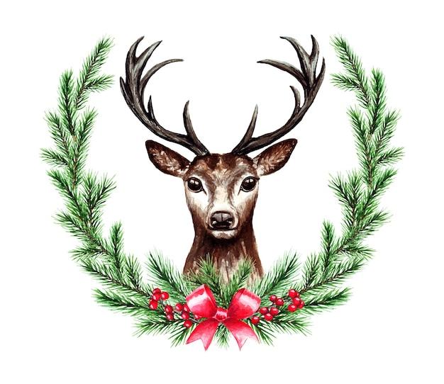 鹿とクリスマスリースの水彩イラスト。メリークリスマス、そしてハッピーニューイヤー。