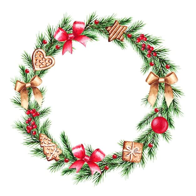 Акварельные иллюстрации рождественский венок с еловыми ветками. веселого рождества и счастливого нового года.