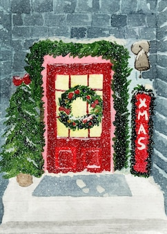 家のドアの装飾とクリスマスリースの水彩イラスト