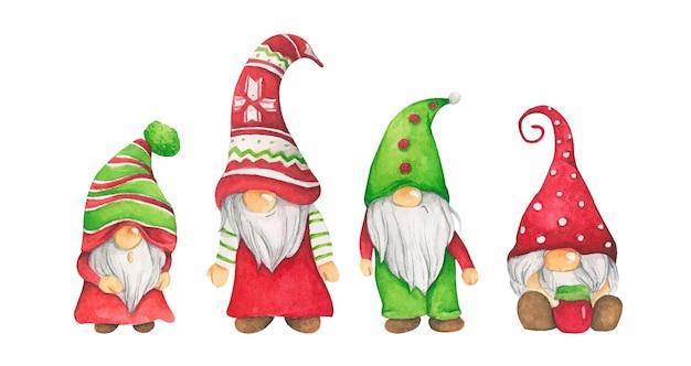 Акварельные иллюстрации милых рождественских гномов.