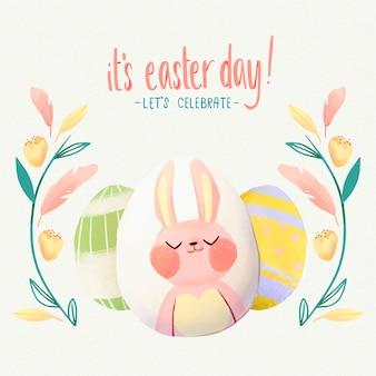 かわいいイースターのウサギの水彩イラスト