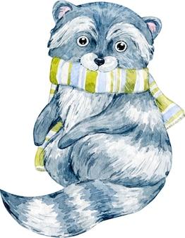 스카프와 귀여운 겨울 크리스마스 너구리의 수채화 그림