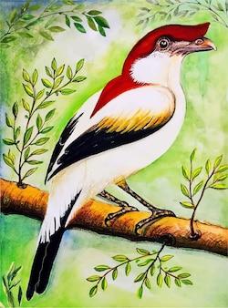 손으로 그린 새의 수채화 그림