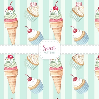 Watercolor illustration of ice cream