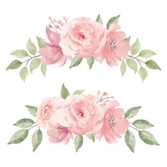 핑크 장미 꽃꽂이 컬렉션의 수채화 그림