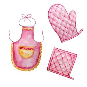 Акварельные иллюстрации двух кухонных прихваток, розовых и розовых фартуков для повара
