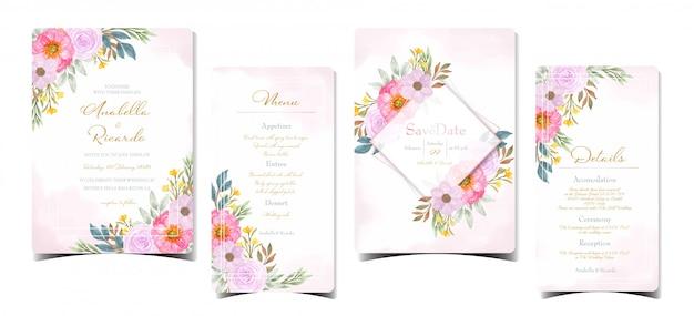 화려한 꽃과 결혼식 초대 스위트의 수채화 그림 프리미엄 벡터