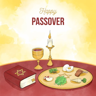 Watercolor illustration of passover event