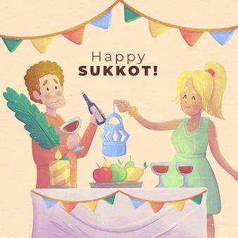Watercolor illustration of people celebrating sukkot